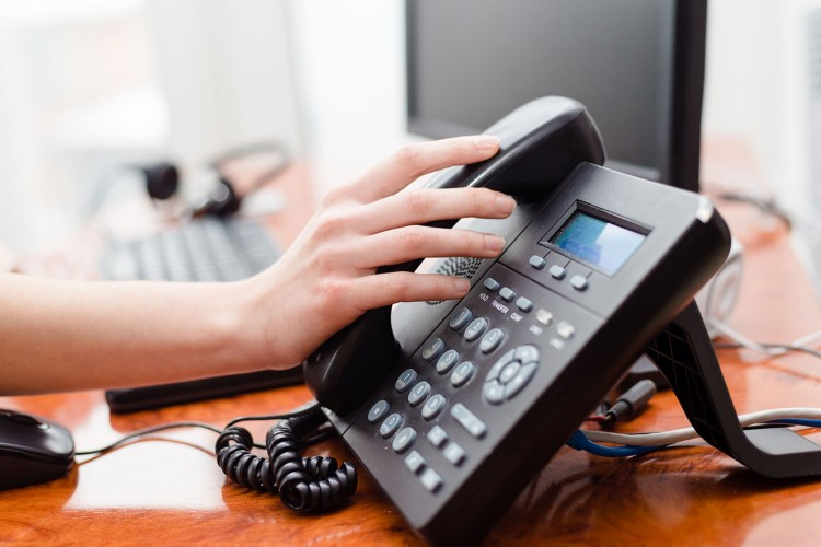 telephone set on desk