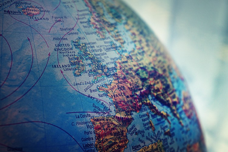 close up of a world map globe