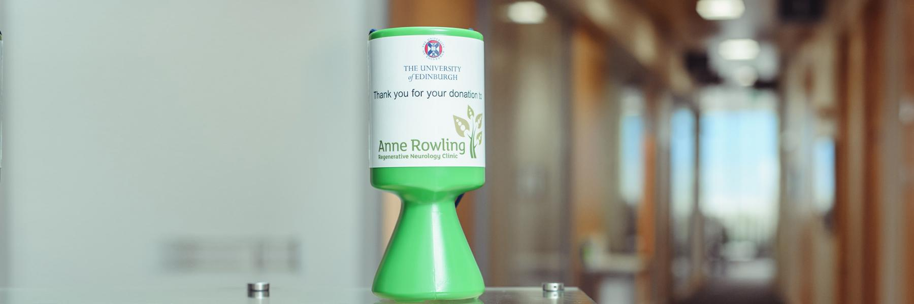 Anne Rowling collecting can on a counter top