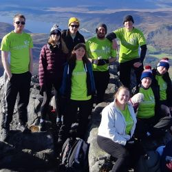 Fundraisers on a mountain